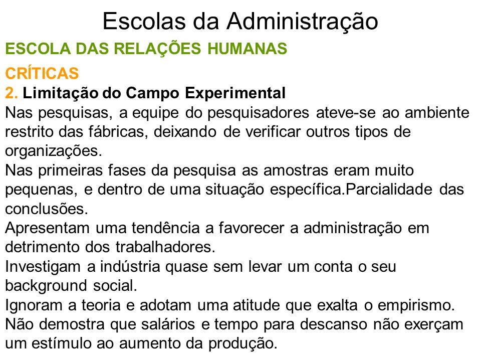 Escolas da Administração ESCOLA DAS RELAÇÕES HUMANAS 2. Limitação do Campo Experimental Nas pesquisas, a equipe do pesquisadores ateve-se ao ambiente