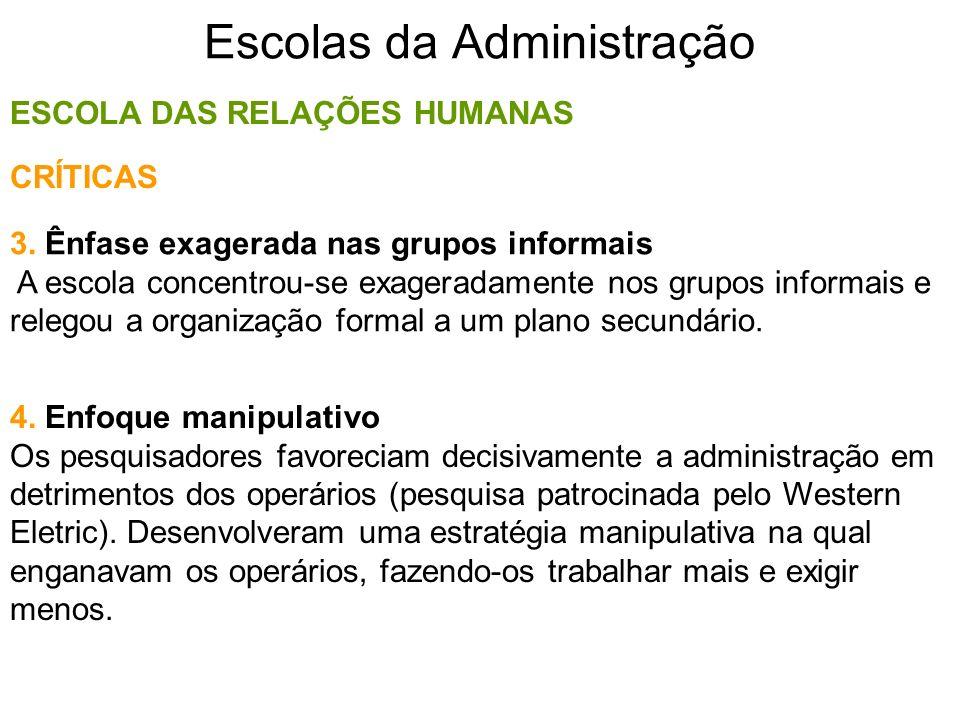 Escolas da Administração ESCOLA DAS RELAÇÕES HUMANAS 3. Ênfase exagerada nas grupos informais A escola concentrou-se exageradamente nos grupos informa