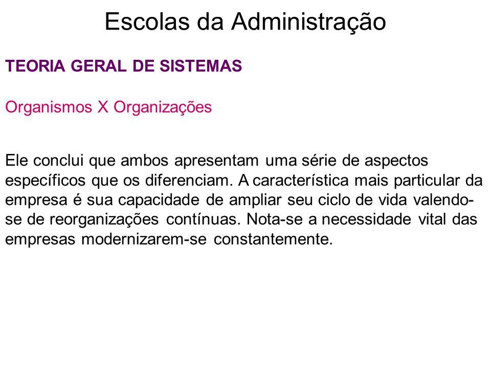 Escolas da Administração TEORIA GERAL DE SISTEMAS Organismos X Organizações Ele conclui que ambos apresentam uma série de aspectos específicos que os