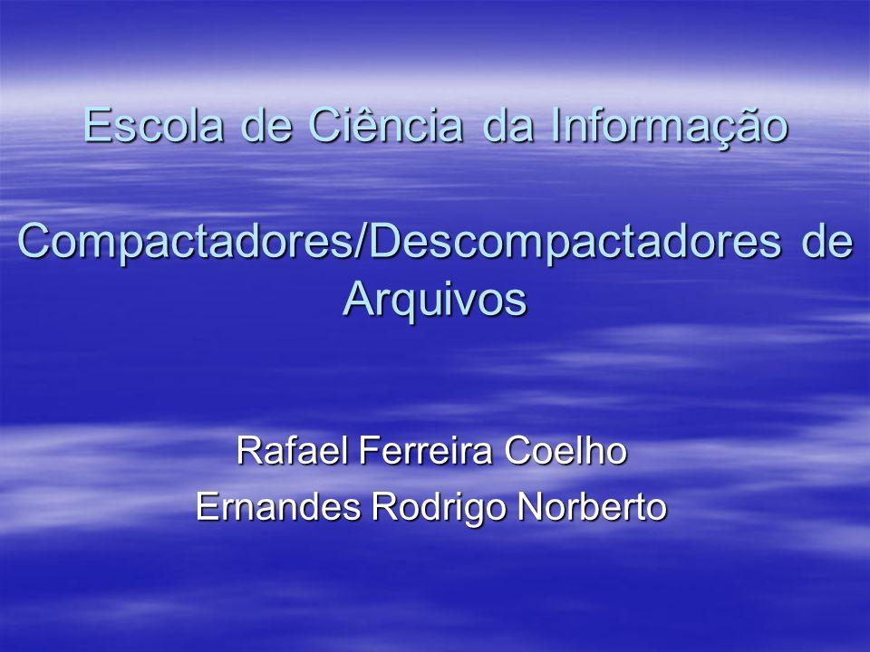 Escola de Ciência da Informação Compactadores/Descompactadores de Arquivos Rafael Ferreira Coelho Ernandes Rodrigo Norberto