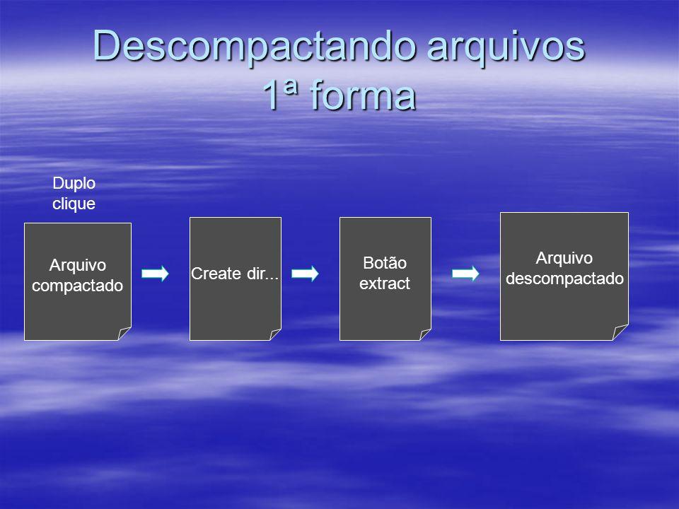 Descompactando arquivos 1ª forma Arquivo compactado Duplo clique Create dir... Botão extract Arquivo descompactado