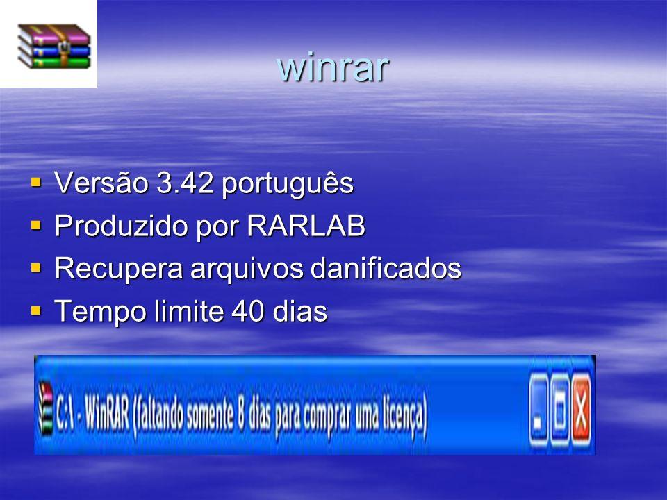 winrar Versão 3.42 português Versão 3.42 português Produzido por RARLAB Produzido por RARLAB Recupera arquivos danificados Recupera arquivos danificad