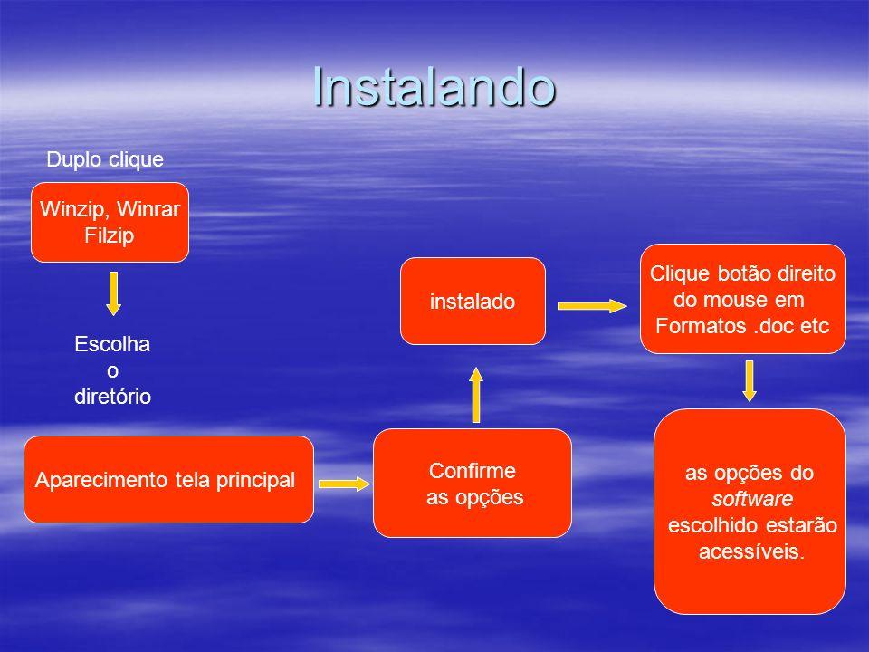 Instalando Winzip, Winrar Filzip Duplo clique Aparecimento tela principal Escolha o diretório instalado Confirme as opções Clique botão direito do mou