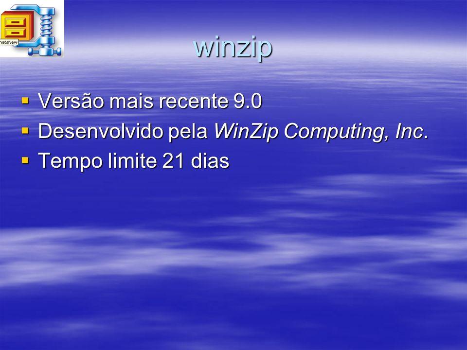 winzip Versão mais recente 9.0 Versão mais recente 9.0 Desenvolvido pela WinZip Computing, Inc. Desenvolvido pela WinZip Computing, Inc. Tempo limite