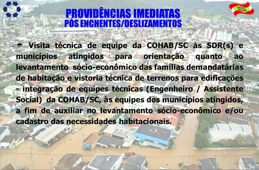 Visita técnica de equipe da COHAB/SC às SDR(s) e municípios atingidos para orientação quanto ao levantamento sócio-econômico das famílias demandatária