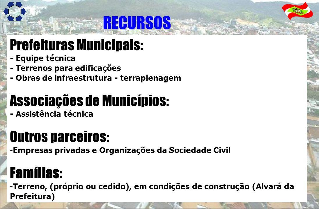 Prefeituras Municipais: - Equipe técnica - Terrenos para edificações - Obras de infraestrutura - terraplenagem Associações de Municípios: - Assistênci