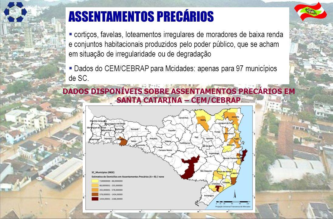 ASSENTAMENTOS PRECÁRIOS cortiços, favelas, loteamentos irregulares de moradores de baixa renda e conjuntos habitacionais produzidos pelo poder público
