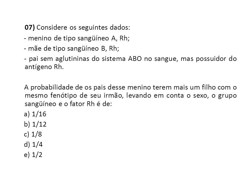 07) Considere os seguintes dados: - menino de tipo sangüíneo A, Rh; - mãe de tipo sangüíneo B, Rh; - pai sem aglutininas do sistema ABO no sangue, m