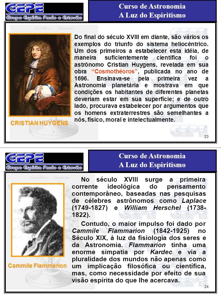 Curso de Astronomia A Luz do Espiritismo Curso de Astronomia A Luz do Espiritismo CRISTIAN HUYGENS Do final do século XVIII em diante, são vários os e