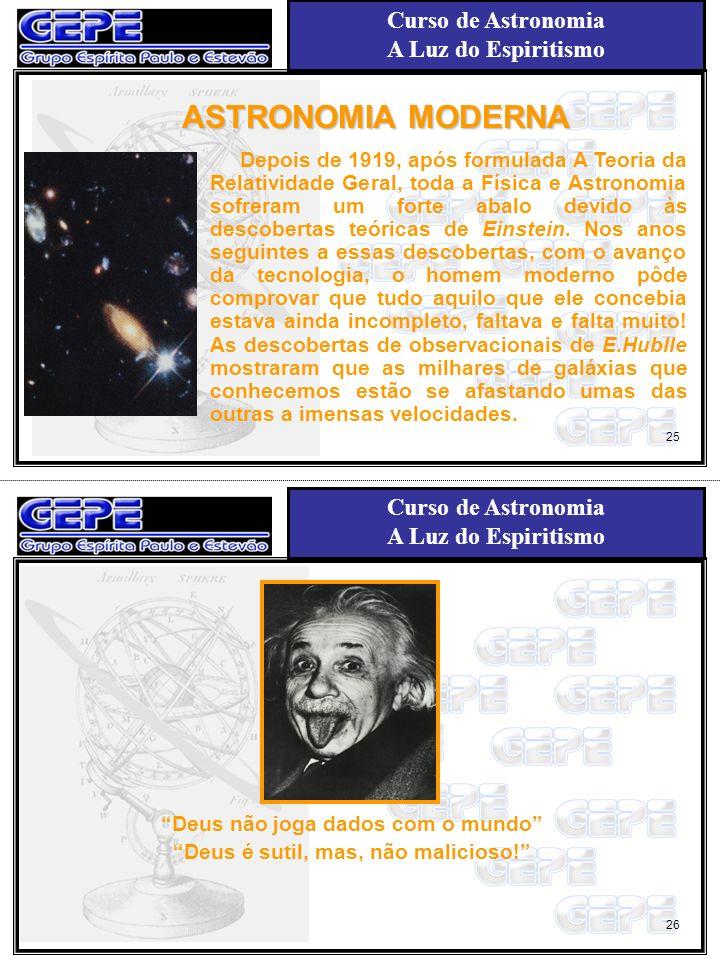 Curso de Astronomia A Luz do Espiritismo Curso de Astronomia A Luz do Espiritismo ASTRONOMIA MODERNA Depois de 1919, após formulada A Teoria da Relati