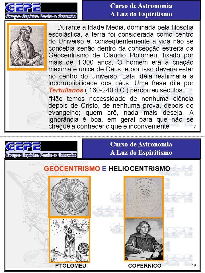 Curso de Astronomia A Luz do Espiritismo Curso de Astronomia A Luz do Espiritismo 18 17 Durante a Idade Média, dominada pela filosofia escolástica, a