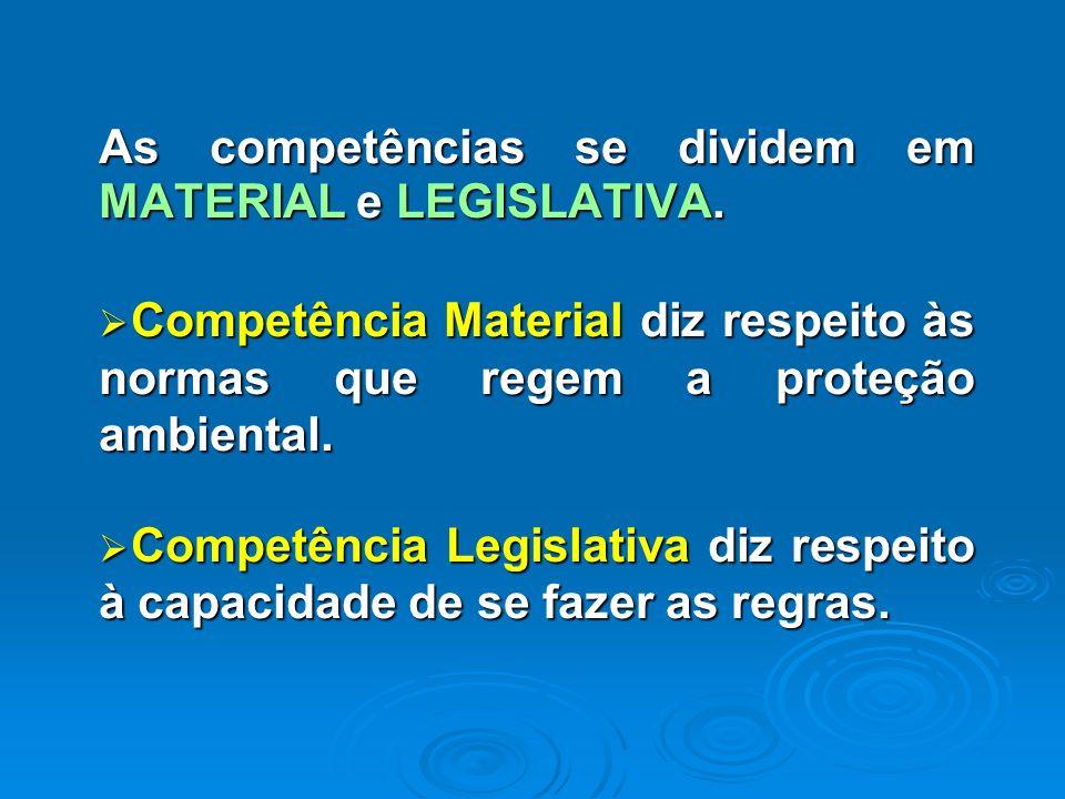Competências Constitucionais em Matéria Ambiental As competências se dividem em MATERIAL e LEGISLATIVA. Competência Material diz respeito às normas qu