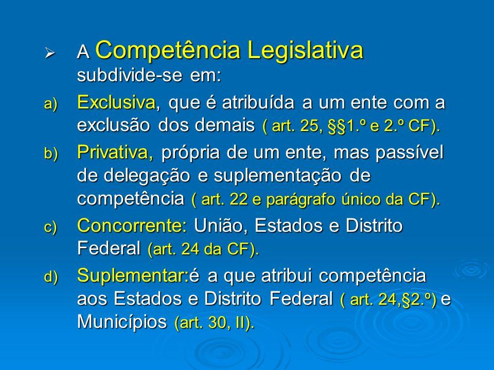 A Competência Material subdivide-se em : A Competência Material subdivide-se em : a) Exclusiva, reservada a um ente federativo com exclusão dos demais.