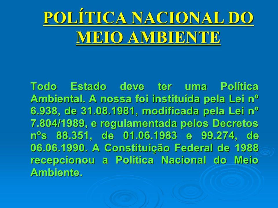 POLÍTICA NACIONAL DO MEIO AMBIENTE Todo Estado deve ter uma Política Ambiental.