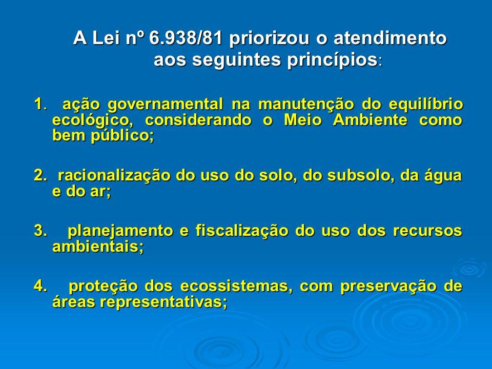 POLÍTICA NACIONAL DO MEIO AMBIENTE Todo Estado deve ter uma Política Ambiental. A nossa foi instituída pela Lei nº 6.938, de 31.08.1981, modificada pe