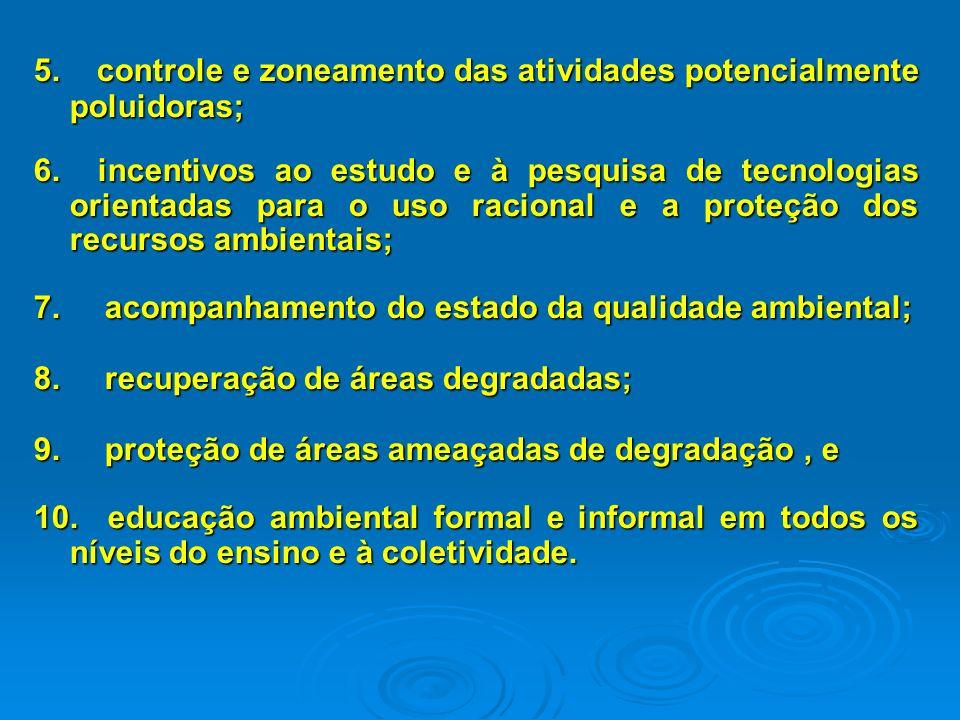 5.controle e zoneamento das atividades potencialmente poluidoras; 6.