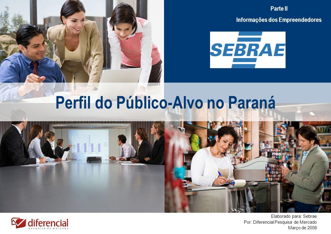 Perfil do Público-Alvo no Paraná Elaborado para: Sebrae Por: Diferencial Pesquisa de Mercado Março de 2008 Parte II Informações dos Empreendedores