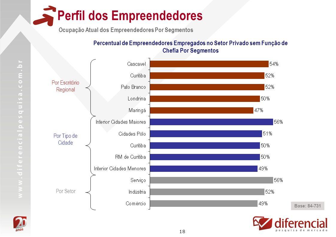 18 Perfil dos Empreendedores Ocupação Atual dos Empreendedores Por Segmentos Base: 84-731 Percentual de Empreendedores Empregados no Setor Privado sem