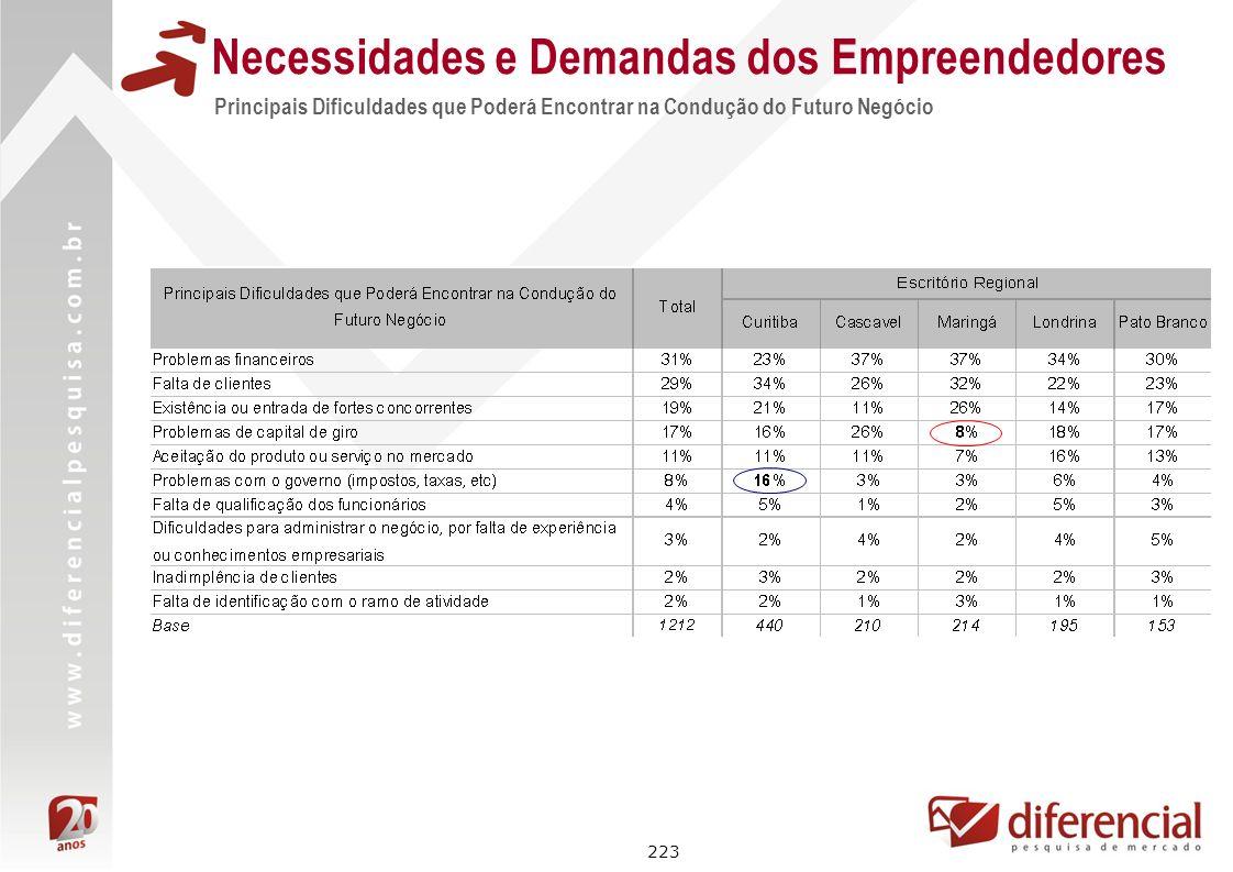 223 Principais Dificuldades que Poderá Encontrar na Condução do Futuro Negócio Necessidades e Demandas dos Empreendedores