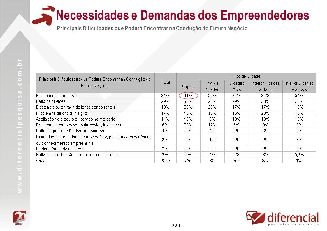 224 Principais Dificuldades que Poderá Encontrar na Condução do Futuro Negócio Necessidades e Demandas dos Empreendedores