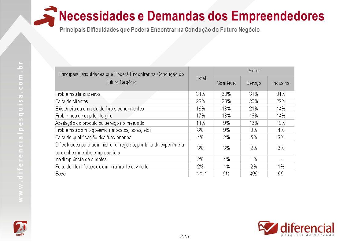225 Principais Dificuldades que Poderá Encontrar na Condução do Futuro Negócio Necessidades e Demandas dos Empreendedores