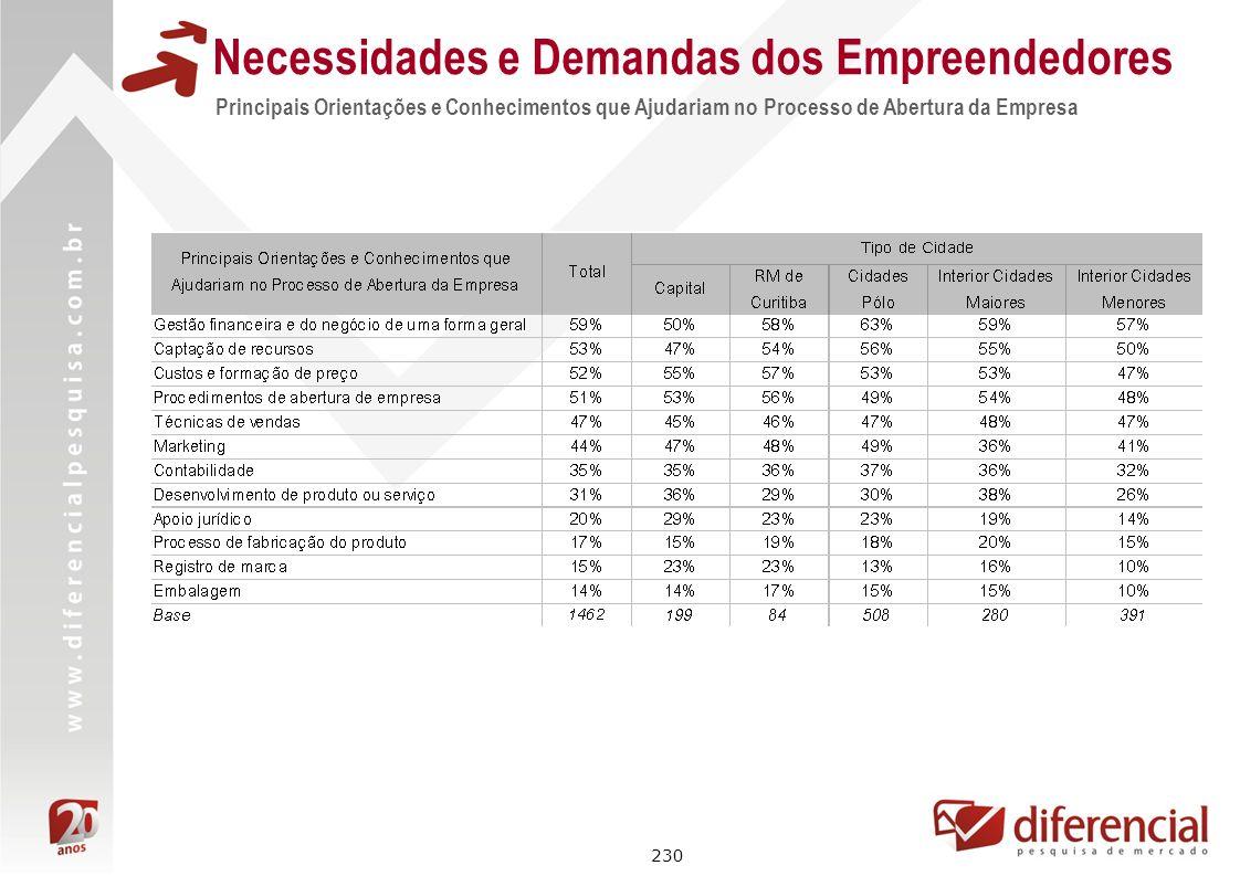 230 Necessidades e Demandas dos Empreendedores Principais Orientações e Conhecimentos que Ajudariam no Processo de Abertura da Empresa