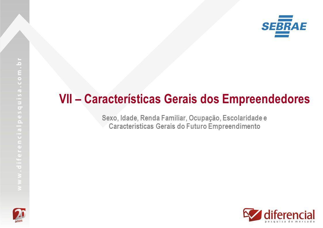 VII – Características Gerais dos Empreendedores Sexo, Idade, Renda Familiar, Ocupação, Escolaridade e Características Gerais do Futuro Empreendimento