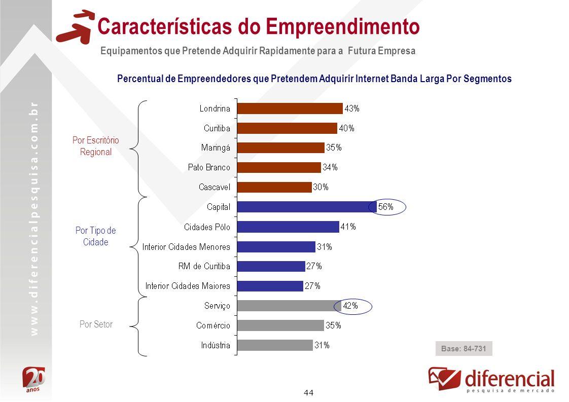 44 Características do Empreendimento Equipamentos que Pretende Adquirir Rapidamente para a Futura Empresa Base: 84-731 Percentual de Empreendedores qu