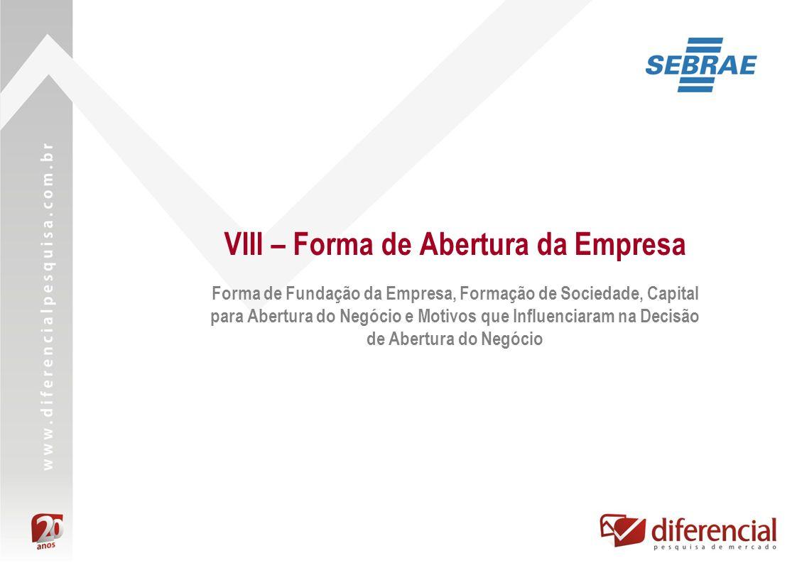 VIII – Forma de Abertura da Empresa Forma de Fundação da Empresa, Formação de Sociedade, Capital para Abertura do Negócio e Motivos que Influenciaram