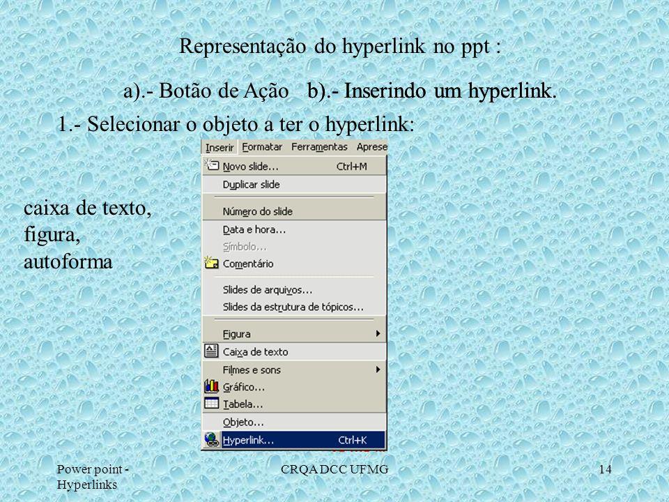Power point - Hyperlinks CRQA DCC UFMG13 Arquivos de som WAV. Sons pre definidos Indicar CAMINHO BOTÃO de AÇÃO : SOM Música a ouvir Mozart Litz