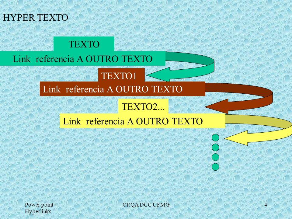 Power point - Hyperlinks CRQA DCC UFMG14 Representação do hyperlink no ppt : 1.- Selecionar o objeto a ter o hyperlink: caixa de texto, figura, autoforma a).- Botão de Ação b).- Inserindo um hyperlink.