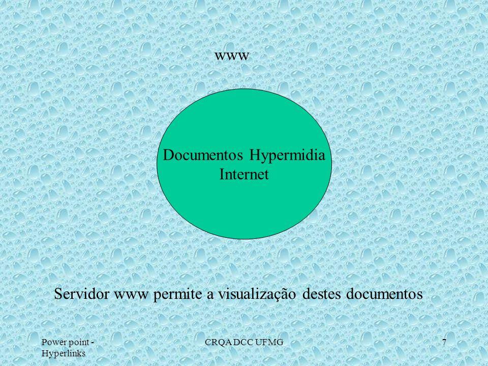 Power point - Hyperlinks CRQA DCC UFMG7 www Documentos Hypermidia Internet Servidor www permite a visualização destes documentos