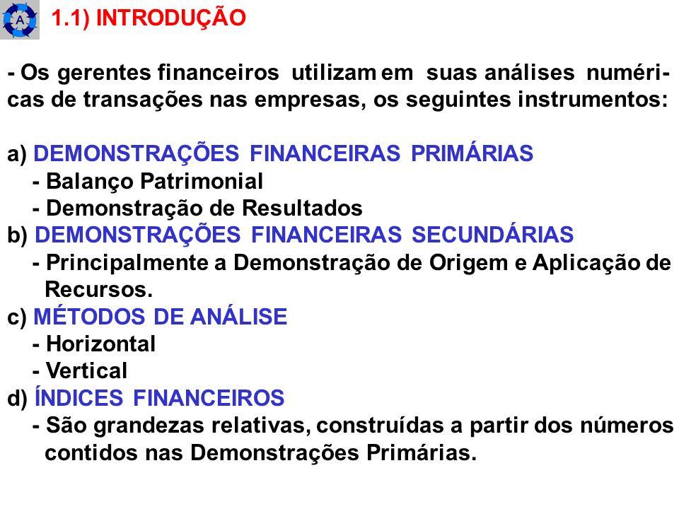 1.1) INTRODUÇÃO - Os gerentes financeiros utilizam em suas análises numéri- cas de transações nas empresas, os seguintes instrumentos: a) DEMONSTRAÇÕE