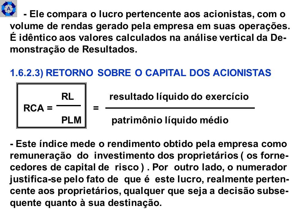 - O denominador, por sua vez, é representativo do volume médio do investimento mantido na empresa por esses pro- prietários.