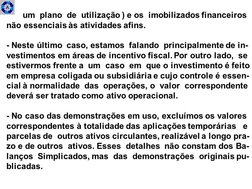 um plano de utilização ) e os imobilizados financeiros não essenciais às atividades afins. - Neste último caso, estamos falando principalmente de in-