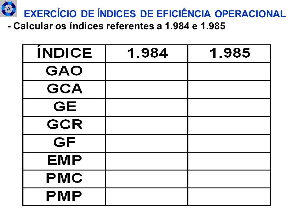 EXERCÍCIO DE ÍNDICES DE EFICIÊNCIA OPERACIONAL - Calcular os índices referentes a 1.984 e 1.985