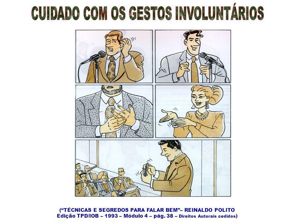 (TÉCNICAS E SEGREDOS PARA FALAR BEM– REINALDO POLITO Edição TPD/IOB – 1993 – Módulo 4 – pág. 38 – Direitos Autorais cedidos )