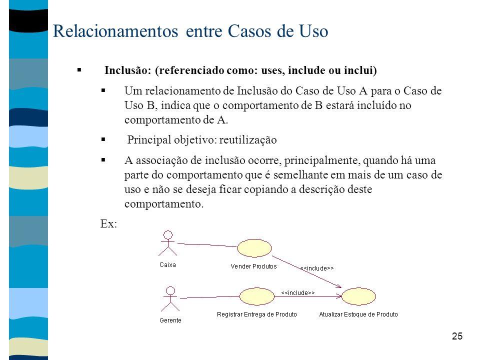 25 Relacionamentos entre Casos de Uso Inclusão: (referenciado como: uses, include ou inclui) Um relacionamento de Inclusão do Caso de Uso A para o Caso de Uso B, indica que o comportamento de B estará incluído no comportamento de A.