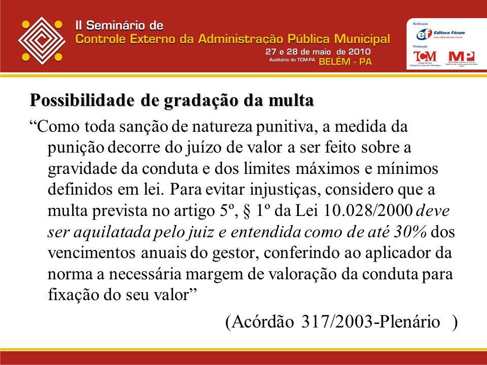 Possibilidade de gradação da multa Como toda sanção de natureza punitiva, a medida da punição decorre do juízo de valor a ser feito sobre a gravidade