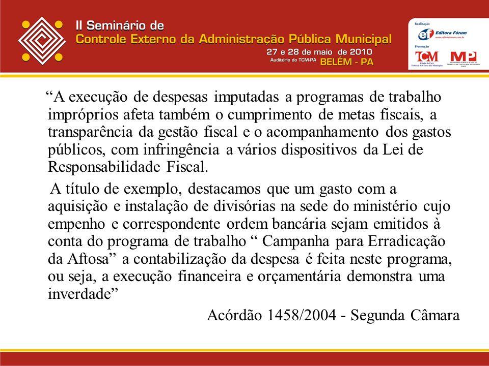 A execução de despesas imputadas a programas de trabalho impróprios afeta também o cumprimento de metas fiscais, a transparência da gestão fiscal e o