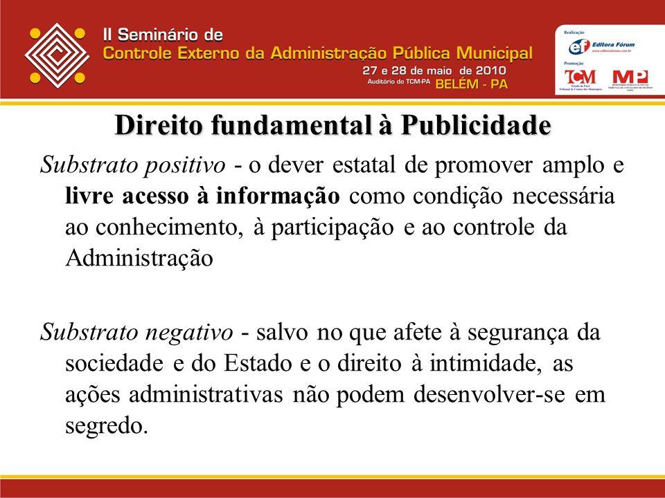 Direito fundamental à Publicidade Substrato positivo - o dever estatal de promover amplo e livre acesso à informação como condição necessária ao conhe