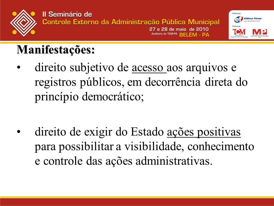 Manifestações: direito subjetivo de acesso aos arquivos e registros públicos, em decorrência direta do princípio democrático; direito de exigir do Est