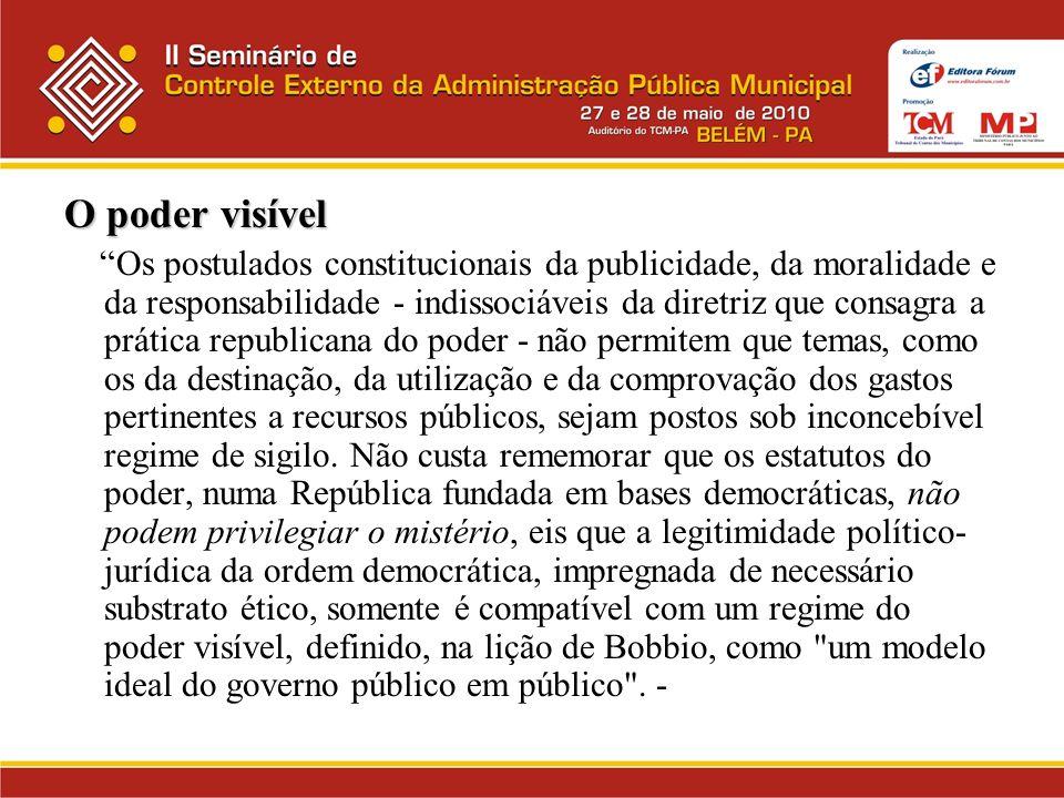 O poder visível Os postulados constitucionais da publicidade, da moralidade e da responsabilidade - indissociáveis da diretriz que consagra a prática
