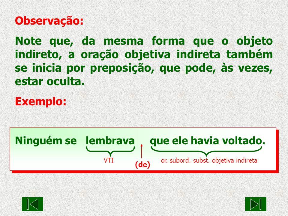 VTI or. subord. subst. objetiva indireta (de) Observação: Note que, da mesma forma que o objeto indireto, a oração objetiva indireta também se inicia