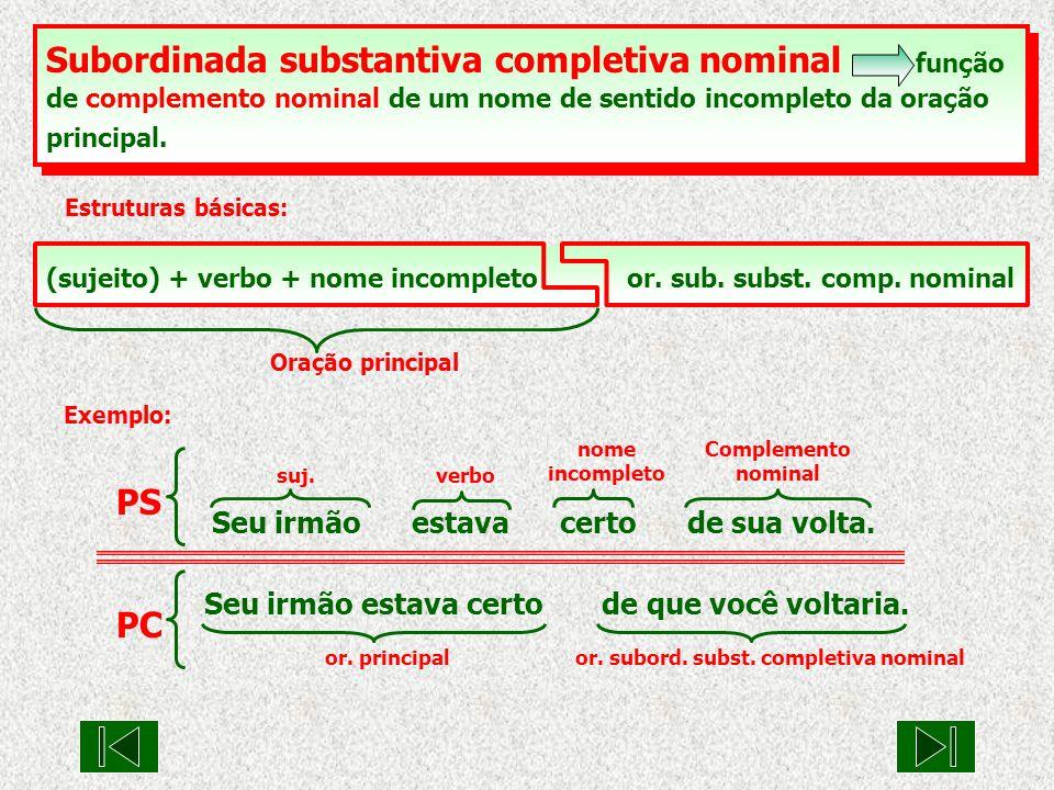 Subordinada substantiva completiva nominal função de complemento nominal de um nome de sentido incompleto da oração principal. Estruturas básicas: Ora