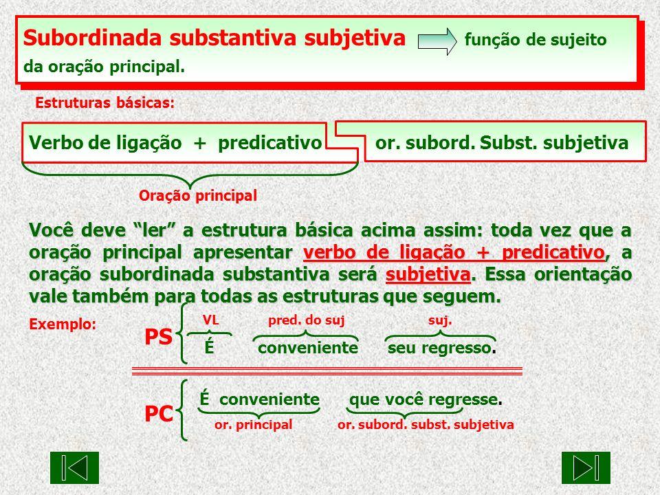 Verbo unipessoal or.subord. Subst. subjetiva Oração principal Exemplo: suj.