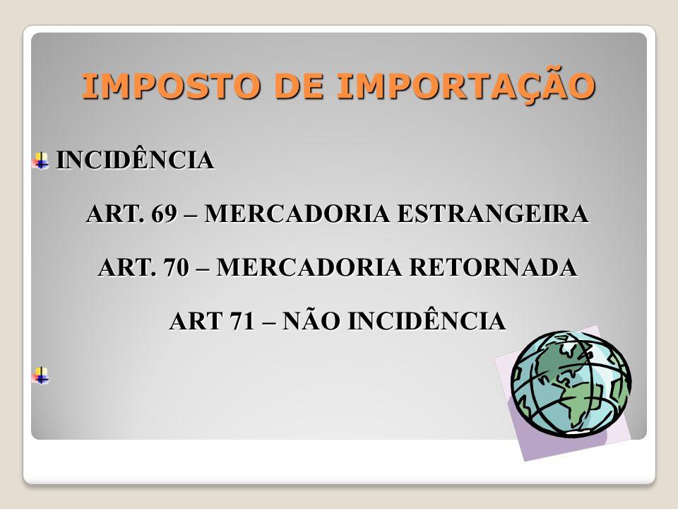 IMPOSTO DE IMPORTAÇÃO INCIDÊNCIA INCIDÊNCIA ART. 69 – MERCADORIA ESTRANGEIRA ART. 70 – MERCADORIA RETORNADA ART 71 – NÃO INCIDÊNCIA