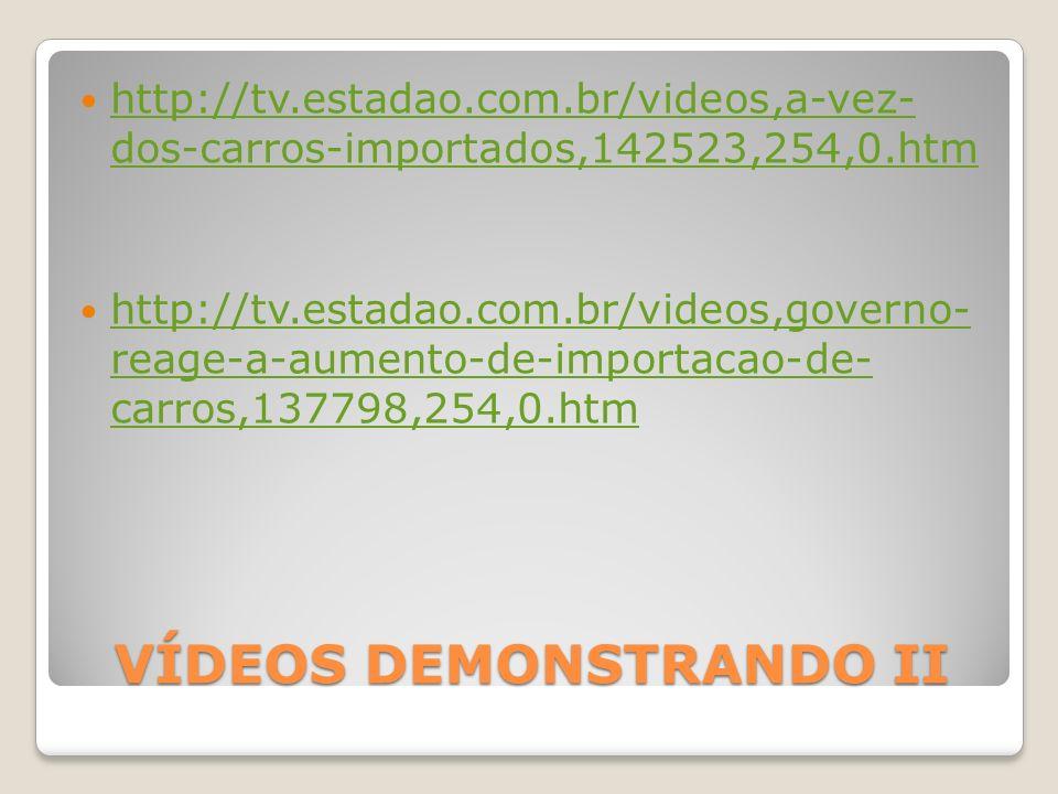 VÍDEOS DEMONSTRANDO II http://tv.estadao.com.br/videos,a-vez- dos-carros-importados,142523,254,0.htm http://tv.estadao.com.br/videos,a-vez- dos-carros