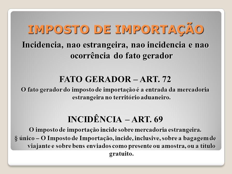 IMPOSTO DE IMPORTAÇÃO Incidencia, nao estrangeira, nao incidencia e nao ocorrência do fato gerador FATO GERADOR – ART. 72 O fato gerador do imposto de