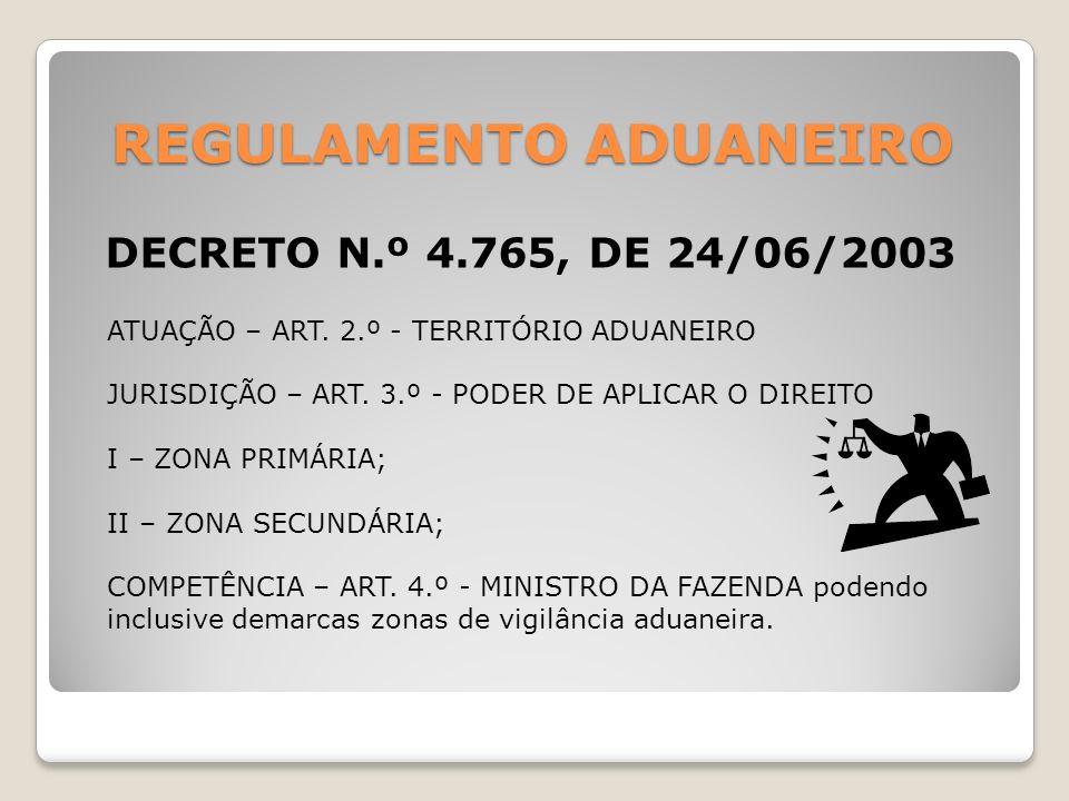 REGULAMENTO ADUANEIRO DECRETO N.º 4.765, DE 24/06/2003 ATUAÇÃO – ART. 2.º - TERRITÓRIO ADUANEIRO JURISDIÇÃO – ART. 3.º - PODER DE APLICAR O DIREITO I